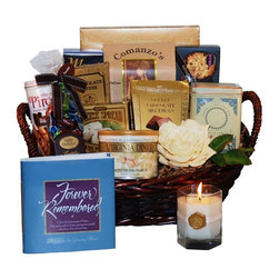 """GiftProse - Forever Remembered Sympathy Gift Basket Multicolor - FOREVE-SMALL - Shop for Gift Basket from Hayneedle.com! An appropriate gift for the grieving heart. At times of bereavement receiving this lovely sympathy gift basket conveys a comforting message of hope and heartfelt condolence. The Forever Remembered basket is full of fine gourmet foods along with touching words of solace for those in mourning. Forever Remembered is a beautiful hardcover book with cherished messages of hope love and comfort from courageous people who have lost a loved one.A tin of Vanilla Comoro Tea by Harney & Sons with 20 sachets of decaffeinated black tea with vanilla will calm and soothe the spirit. The basket also includes a vanilla-scented pillar candle for quiet moments of reflection a large box of Perugina biscotti with almonds Wellington cracked-pepper water crackers creamy white sandwich cookies Gille double-chocolate crisp wafers and Venetian cafe cream wafer rolls. The Forever Remembered gift comes in a beauteous gift basket and includes a matching GiftProse greeting card and optional prose along with your personal sentiment.The large basket also includes Ferrero Rocher fine hazelnut chocolates Seattle Chocolates cafe mocha truffles and gourmet award-winning Virginia peanuts. Please note: Certain perishable products that are sensitive to heat are replaced by other fine products of comparable or greater value.About GiftProseThere's nothing quite like the feeling you get after giving somebody a gift. The sentiment behind gift-giving was the spark of inspiration that resulted in GiftProse - Gifts with Sentiment. Established in 2003 by a mother and daughter team and based in Washington D.C. GiftProse has honed the art of gift giving. By including a gift greeting card with prose and of course the sentiment behind the gift all in one decorative package GiftProse takes the idea of """"one-stop shopping"""" to the next level. Fine-quality card images and paper stock for premium greetin"""
