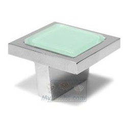 "Atlas Homewares - Cabinet Hardware - Spa 1 1/4"" Square Knob in Green and Polishe -"