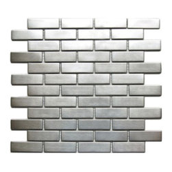 CNK Tile - Stainless Steel Mosaic 1x3 - Our heavy duty stainless steel mosaic tiles are made with a heavy porcelain base, double A grade stainless steel with a mesh backing for easy installation. These stainless steel tiles are great for vertical surfaces such as a backsplash for a stove top in the kitchen. Unsanded grout is required for the installation for stainless steel tiles.  Stainless steel 1x3 are sold in square foot mesh mounted sheets in an interlocking pattern.