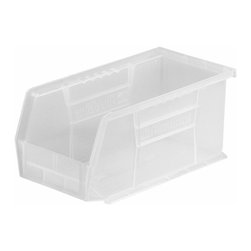 Akro-Mils - Clear Stackable Storage Bins, Set of 12 - AkroBins optimize your storage space. Control inventories, shorten assembly times and minimize parts handling. Heavy-duty polypropylene bins hang from Akro-Mils racks, panels, rails, and carts; securely stack atop each other and sit on shelving. AkroBins are unaffected by weak acids and alkalis. Sturdy, one-piece construction is water, rust and corrosion proof and guaranteed not to break. Autoclavable up to 250Degrees F.