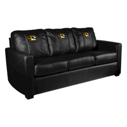 Dreamseat Inc. - University of Missouri NCAA Tigers Xcalibur Leather Sofa - Check out this incredible Sofa. It's the ultimate in modern styled home leather furniture, and it's one of the coolest things we've ever seen. This is unbelievably comfortable - once you're in it, you won't want to get up. Features a zip-in-zip-out logo panel embroidered with 70,000 stitches. Converts from a solid color to custom-logo furniture in seconds - perfect for a shared or multi-purpose room. Root for several teams? Simply swap the panels out when the seasons change. This is a true statement piece that is perfect for your Man Cave, Game Room, basement or garage.