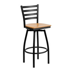 Flash Furniture - Flash Furniture Restaurant Seating Metal Restaurant Barstools - This stylish swivel bar stool will compliment any Home, Restaurant, Lounge or Bar. The 360 degree swivel seat allows you to swing around effortlessly. The wood seat is easy to clean for quick customer turnovers in restaurants. The heavy duty frame makes this stool perfect for commercial or home usage. This attractive stool will add to your casual or elegant setting. [XU-6F8B-LADSWVL-NATW-GG]