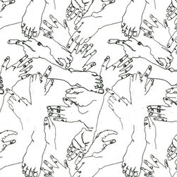Cavern Home - Vernon Wallpaper Charcoal, Set of 2 - Give your walls a playful human touch with this whimsically original wallpaper based on blind contour drawings of hands and feet. The casual notebook-style sketches have a free-spirited, organic chaos, with lots of white space to keep the feeling light. Try it in an art studio, on one wall of a family room or as part of a modern decor scheme.