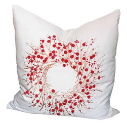Xia Home Fashions - Handmade Holiday Berry Wreath Ribbon & Pom Pom Feather Filled Pillow, 20x3 - A whimsical Christmas wreath rendered in ribbon embroidery and red pom-pom berries adorns this magical holiday linens collection! Machine wash cold water, no bleach, lay flat to dry. Light iron as needed.