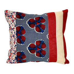 Acapillow - Floral and Striped Patchwork Pillow - Mixing patterns in pleasing pops, you'll adore this patchwork pillow of vintage and antique fabrics. This playful pillow is backed with natural hemp and features a zipper closure.