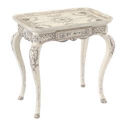 "John Richard - John Richard Carnavalet Table EUR-03-0384 - From Florence de Dampierre: This table is an interpretation of one at the Musee Carnavalet in Paris, which was featured in my first book ""The Best of Painted Furniture."" The quality of its pale gray decoration will make the Carnavalet a must-have in any setting."