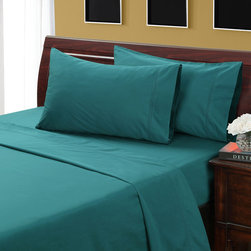 None - Jasper 400 Thread Count Hemstitch Sheet Set - Change the look of your bedroom with this colorful cotton sheet set. This cheery easy-care set delivers luxury via its generous 400 thread count,and the fitted sheet features a fully elasticized perimeter,so it stays snugly on your bed.