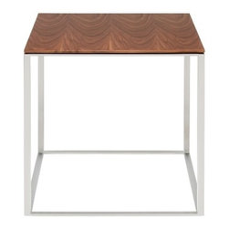 Blu Dot - Blu Dot Minimalista Side Table, Stainless Steel / Walnut - Nothing but the bare essentials here. Sublime stainless steel gently supports your choice of top. Available in graphite-on-oak, marble and walnut.