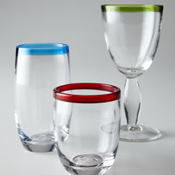Horchow - Four Festival Goblets - Brightly colored rims add a pop of color and a bit of fun to this distinctive glassware. Handcrafted of glass. Dishwasher safe. Available in Lemon Grass (green), Scarlet (red), Sunflower (yellow), or Peacock (blue); select color when ordering. Doubl...