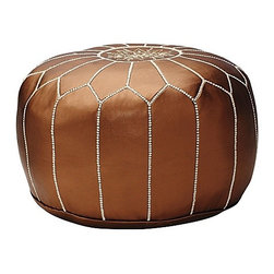 Serena & Lily - Moroccan Pouf, Bronze - Leather poufs are a staple in India. These oriental works of art make for smart seating, coffee tables or footstools.