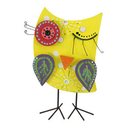 Zeckos - Whimsical Hand Painted Yellow Tabletop Tin Owl - This owl is a cute, colorful addition to your home or patio. The layered wing, nose, and eyes are attached with springs, adding depth to the piece, and details like the curled eyelashes and winking expression contribute to the overall folk art look. It is made of tin, hand painted, and measures 12 inches tall, 9 inches wide, 4 inches deep. It makes a great gift for your favorite teacher, or any wise friend in your life with an appreciation for unique art.
