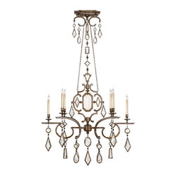 Fine Art Lamps - Encased Clear Crystal Gems Chandelier, 708940-3ST - Dripping with jewels, this remarkable fixture will make the perfect finishing touch to your favorite formal space. Note how the noble bronze patina lends balance to the brilliant crystal gems.