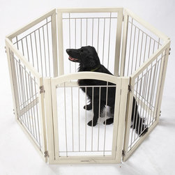 Frontgate - Six-panel Antique White Hardwood Pet Gate and Crate Dog Gate - Six-panel pet barrier easily sets up as a zig-zag gate, a spacious hexagonal puppy playpen, or a sturdy rectangular crate. Weighing over 50 lbs., it's substantial enough to keep even larger dogs contained. Crafted of solid wood with an antique white finish. Powdercoated wrought-iron bars. A single latched door opens for walk-through convenience. Versatile and distinctive, our Antique White Hardwood Pet Gate and Crate is also a playpen. The hefty, 12-ft. design of this gate is essential, allowing it to be reconfigured to keep pets temporarily out of the way from certain areas of the home or permanently cordoned. . Weighing over 50 lbs., it's substantial enough to keep even larger dogs contained. . . . Folds flat for storage. Arrives fully assembled; view care instructions.