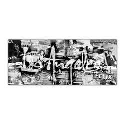 """READY2HANGART.COM - Ready2hangart Alexis Bueno Vintage B&W Los Angeles Canvas Wall Art - Artist Alexis Bueno, takes you through the history of select cities and countries with his series Vintage Black & White. The abstract rendition in canvas art is offered as part of a limited """"Home Decor"""" line."""