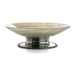 Splendor Large Serving Bowl - A magnificent art glass, rendered by an Italian artisan to match the natural tones and striations of the famous Florentine alabaster, forms the vessel of the Splendore Large Serving Bowl. The pewter base, a flared cylinder trimmed in beading which rests horizontally against the table, reflects the warmth of the neutral tones in the glass above for a doubled elegance.