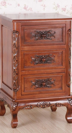 International Caravan - 3 Drawer Carved Wood End Table - Hand carved. Great for indoor living rooms and bedrooms. Dual stain finish. Minimal assembly required. 18 in. W x 15 in. D x 29 in. H