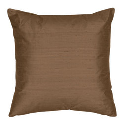 The Silk Group - Golden Bronze 22x22-Inch Square Silk Dupioni Luxury Decorative Pillow Cover Only - - Handcrafted in the USA, these decorative pillows are ideal for adding that special finishing touch to any space. Available in over 100 colors, several of them can be combined for a grouping of complementary colors or contrasting shades. They feature 100% Grade A Silk Dupioni, the finest, highest quality, most exquisite silk fabric on the market. A high quality knit backing is permanently bonded to the back of the fabrics used in our pillows. The knit backing adds body, increased stability, and longevity to the pillow. An invisible, color-coordinated zipper is discretely placed on the bottom edge of the pillow, so both faces of the pillow are able to be displayed. The fabric face has been treated with the most durable and permanent eco-friendly stain, moisture and UV repellents available. Using nanotechnology, the repellents penetrate deeply into the fibres of the fabric through a gentle heat curing process. This provides long lasting protection from water, alcohol, and oil-based stains as well as resistance from fading, and discoloring over time  - Pillow cover only  - Laundering Information: Dry clean only  - Made in USA The Silk Group - SQ_Dup_Sol_Golden_Bronze_22x22_CO