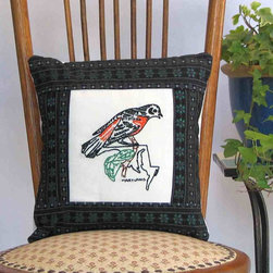 For the home - This one-of-a-kind, hand-sewn Maryland state-bird pillow combines a vintage, beautifully hand-embroidered quilt block and contemporary fabric, perfect for cottage chic, cabin, or farmhouse decor. This keepsake pillow is 12 inches square (30.5 cm), has an envelope back and is made of cotton. The pillow form (containing hypo-allergenic polyfill) is included.