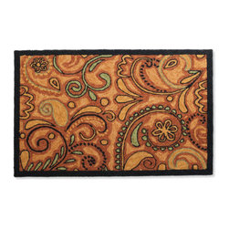 Grandin Road - Lydia Outdoor Mat - As stylish as it is durably crafted for indoor/outdoor use. Beautiful hand-hooked construction. 100% polypropylene. Water, mildew, and fade resistant. Simply hose clean and hang dry. Be a step ahead with our bold and abstract-paisley-patterned mat at your threshold. Warm tones of orange and green with black outlines and border make Lydia the perfect greeting throughout the autumn months. . . . . . Imported.