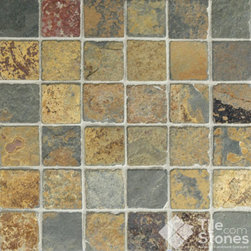 Butterscotch Slate Mosaic | 2x2 | Tumbled - Call to order: 1-877-558-8484