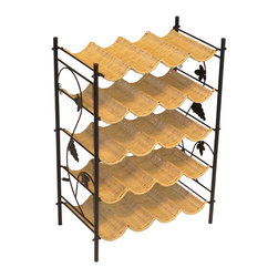 4D Concepts - 4D Concepts Wicker Wine Rack in Wicker Metal - The perfect item for any wine coinsurer! With 5 contoured shelves that are made to fit 4 standard wine bottles per shelf. Each shelf is woven with wicker over a metal frame. Decorative metal sides gives the wine rack the added touch for your kitchen. The wine rack is great for organizing all of your favorite wines. Constructed of metal and wicker. Clean with a dry non abrasive cloth. Assembly required.
