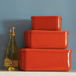 Rectangular Biscuit Tins - The perfect place to store my cookies in the kitchen or my nail polish in the bathroom. And the farmhouse red is spot on.