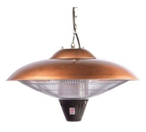 Fire Sense - Fire Sense Hanging Copper Finish Halogen Patio Heater - Our Hanging Copper Finish Halogen Patio Heater introduces a new revolution in outdoor heating. This halogen patio heater runs on regular household electric current and is substantially less expensive to operate than propane patio heaters. This adaptable unit can be used indoors and outdoors and will add warmth to any table setting.  For the maximum heat exposure, hang the heater from ceiling so that the bottom of the unit measures 36 inches from the top of any patio table.