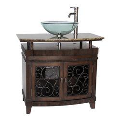 "Benton Collection - 36"" Attractive Artturi Vessel Sink Bathroom Vanity Cabinet # Q226Bn - Dimensions: 36 x 20.5 x 32.25""H  approx."