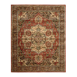 """Nourison - Nourison Jaipur JA36 5'6"""" x 8'6"""" Red Area Rug 01158 - A world of sumptuous grandeur is captured within the borders of this eye-filling Persian design. A large center medallion holds court in multi-faceted brilliance upon a ground of royal red. Garnet, jade and ivory details complete the dazzling effect."""