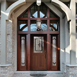 Woodgrain Fiberglass Doors - 3/0 x 6/8 Woodgrain Series True Four Panel w/ Berkshire Doorlites ---