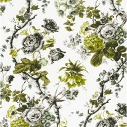 Schumacher - Elizabeth Fabric, Acid Green/Greige - 2 YARD MINIMUM ORDER (PRICE IS PER YARD)