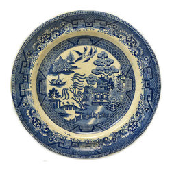 Lavish Shoestring - Consigned 4 Blue and White Willow Dinner Plates, Antique English, 19th Century - This is a vintage one-of-a-kind item.
