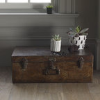 Traditional Wooden Box - This handsome wooden box would lend a well-traveled look to any space.