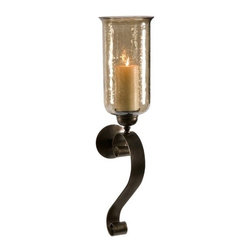 "IMAX - Medium Scroll Base Wall Sconce with Brown Luster Glass - Brown luster glass glows from the light of a pillar candle and creates a rich ambiance from this medium scroll base wall sconce. Item Dimensions: (30""h x 8.5""w x 7"")"