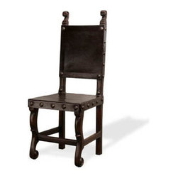 Peruvian Leather Side Chair, Dark Mahogany and Upholstered in Leather - Peruvian Leather Side Chair, Dark Mahogany and Upholstered in Leather W/ Nail Heads