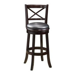 Boraam - Swivel Hardwood Bar Stool w Light Cherry Fini - Seat band beneath cushion. Black PVC seat and back. Durable and easy to clean . High density FR foam seat. Steel ball bearing swivel. Flared legs and footrest. Made from Solid hardwood RTA. Maximum Weight Capacity: 250 LBS. Not suitable for commercial use. Seat Diameter: 17 in.. Seat Height: 29 in.. Overall: 18 in. W x 22 in. D x 43.5 in. H (28 lbs.)