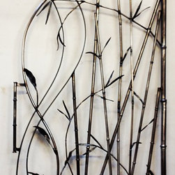 Abstract Metal Gate Bamboo Motif - Pathway gate in mild steel, abstract bambo design.