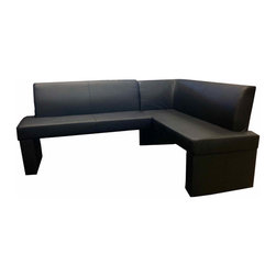 Armen Living - Zenith Corner Sofa in Black - Dine in style with the Zenith corner nook dining set.