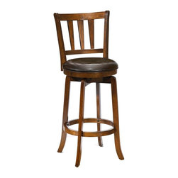 Hillsdale Furniture - Presque Isle Swivel Counter Stool w Flared Le - Choose Size: 39 in. Counter HeightCherry finish and Brown upholstery. Stool has a sturdy base with flared legs. Back has an interesting tapered spindle design and the seat is covered in easy to care for vinyl. Exuding a warm, rich ambiance and constructed of hardwood. These stools are a wonderful addition to any kitchen or home bar area. Seat Height for Counter Stools: 25 in.. Seat Height for Bar Stools: 29 in.. Counter Stool: 19 in. L x 17.5 in. W x 39 in. H (28 lbs.). Bar Stool: 19 in. L x 17.5 in. W x 43.5 in. H (28 lbs.)