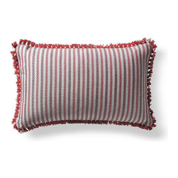 Frontgate - Fairway Stripe Rouge Outdoor Lumbar Pillow - 100% Sunbrella® solution-dyed acrylic fabric. Finished in Red eyelash fringe. Resists fading, mold and mildew. High-density polyester fill. Spot clean with mild soap and water; air-dry only. Bursting with welcoming texture and pattern, the Sunbrella Fairway Stripe Rouge Outdoor Lumbar Pillow will instantly enhance your outdoor setting. Embellished with intricate Red eyelash fringe and constructed of all-weather fabric, this exclusive pillow maintains its radiance through seasons of use. 100% Sunbrella solution-dyed acrylic fabric .  .  .  .  . Zipper closure . Made in the USA.