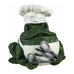 Toad Hollow Chef Frog Statue Cooking Baker - The Toads Of Toad Hollow are a collection of statues that add whimsy and imagination to your home. This chef toad is ready to cook! He wears a white chef`s hat and white apron, and holds a spoon, fork and ladle in his front leg. Made of cold cast resin, the toad measures 5 1/2 inches tall, 6 inches wide and 5 1/2 inches deep. He`s hand-painted, and shows great detail. He makes a wonderful gift for any cooking or baking lover.