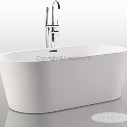 "HelixBath Agora Freestanding Acrylic Bathtub 68"" White w/ Rectangle Overflow - Designs created for bathing purists. The curves and lines are well conceived & uncomplicated. Helixbath�s well tailored soaking tubs provide an ergonomic comfortable spa experience. Featuring an easy to clean 3M Fade Resistant finish and stainless steel frame, Agora is the very definition of beautiful longevity. Thinner low profile top rails and elegantly curved ends flare outward at a degree of specific intent. Agora meets the modern profile of the perfectly designed soaking tub. Faucet shown for display purpose only and sold separately."