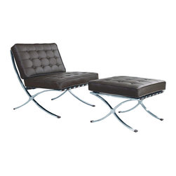 Catalan Chair and Ottoman in Espresso - There's nothing more old Hollywood than a cool leather chair to recline in. Kick your feet up and have a glass of red wine while you catch up on the movies of long ago.