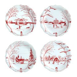 Country Estate Winter Frolic Party Plates, Set of 4 - Handsome packaging with traditional tartan details presages the pleasure of this handsome set of special-occasion tableware, the Country Estate Winter Frolic Party Plates. With whimsically supple trees framing heartwarming scenes traced in red on the snow-white porcelain, these seasonal plates elegantly dress a buffet or provide a festive note to cocktail appetizers.