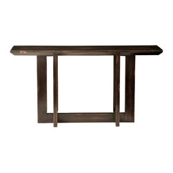 TerraSur - Monet Console - This sleek and sophisticated console toes the line. Made of solid wood with a beveled top, the piece has a clean-lined cross base to keep things nice and simple. It's the type of table that fits in just about anywhere, from your entryway to behind your desk in the home office.