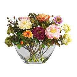 Nearly Natural - Peony with Glass Vase Silk Flower Arrangement - Not for outdoor use. This colorful arrangement will brighten any room. Perfect size to fill any space. Artificial water set in a unique glass vase. . Included container size: 12 in. W X 5.5 in. HMade of: Polyester material, plastic, Glass, resin18 in. W X 10 in. D X 14 in. H (7lbs)With a rich history dating back to Greek mythology, this modern day peony silk flower arrangement makes the perfect gift for family or friends. An assortment of cheery colored petals adds a breath of fresh air to a stuffy office space or drab home decor. It's the perfect size to grace your desk, coffee table, or kitchen window sill. A glass container filled with artificial water will keep these freshly cut beauties looking crisp and radiant.