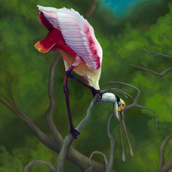 "Allison Richter Wildlife Studio - Roseate Spoonbill - ""Twisted Point of View"" - Wall Décor 24""h x 18""w - Twisted Point of View - Canvas Glicee (24"" x 18"")"