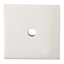 "Top Knobs - Square Backplate 1 1/4"" - Brushed Satin Nickel - ,Width - 1 1/4"",Projection - 1/16"","