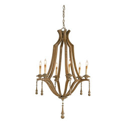 Currey & Company - Currey & Company Simplicity Chandelier CC-9256 - The Simplicity Chandelier is just that: A simple handsome shape embellished with just the right amount of decorative trim and the result is an outstanding design. The wood is given a Washed Wood finish that is totally in keeping with the design and materials used.