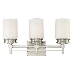 Nuvo Lighting - Nuvo Lighting 60-4703 Wright 3-Light Vanity Fixture with Satin White Glass - Nuvo Lighting 60-4703 Wright 3-Light Vanity Fixture with Satin White Glass